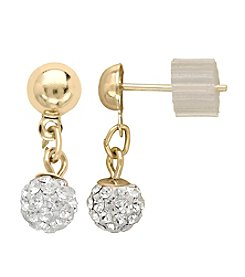Clear Crystal Drop Earrings in 14K Yellow Gold