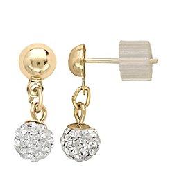 Clear Crystal Drop Earrings in 14K Yellow Gold