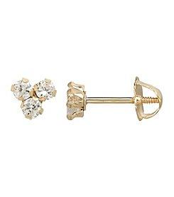 14K Yellow Gold Cluster Stud Earrings
