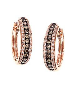 Effy® 0.57 ct. t.w. Espresso Collection Diamond Hoop Earrings in 14K Rose Gold