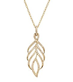 0.25 ct. t.w. Diamond Leaf Pendant Necklace in 10K Yellow Gold