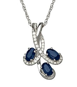 Sapphire and Diamond Pendant Necklace in 10K White Gold
