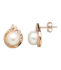 0.10 ct. t.w. Diamond Accent Pearl Earrings in 10K Rose Gold