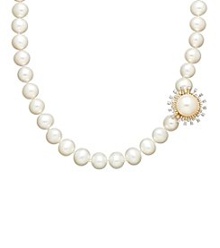 0.15 ct. t.w. Diamond and Freshwater Pearl Necklace in 10K Yellow Gold