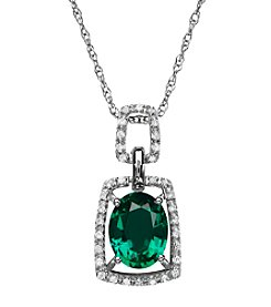 Laboratory Created Emerald and 0.10 ct. t.w. Diamond Pendant Necklace in Sterling Silver