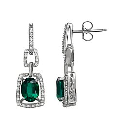 Laboratory Created Emerald and .18 ct. t.w. Diamond Earrings in Sterling Silver