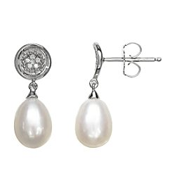 0.04 ct. t.w. Diamond Accent Pearl Drop Earrings in Sterling Silver
