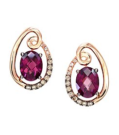 Effy® Bordeaux Collection Rhodolite Garnet and 0.22 ct. t.w. Diamond Earrings in 14K Rose Gold