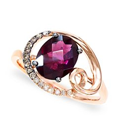 Effy® Rhodolite Garnet and 0.13 ct. t.w. Diamond Ring in 14K Rose Gold