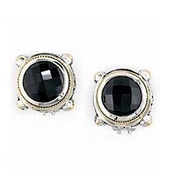 Effy® Onyx Earrings in 18K Yellow Gold and Silver