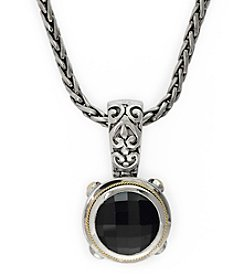 Effy® Onyx Pendant Necklace in 18K Yellow Gold and Silver
