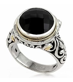Effy® Onyx Ring in 18K Yellow Gold and Silver