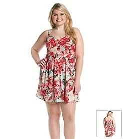 Jessica Simpson Plus Size Flare Floral Dress
