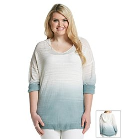 Olivia Sky Plus Size Space Dye Hooded Top