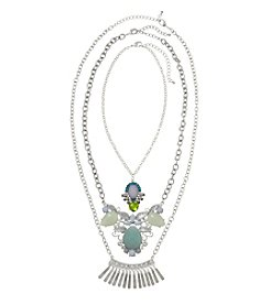Relativity® Mint and Silvertone 3-in-1 Convertible Necklace