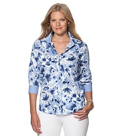 Chaps® Plus Size Floral Sateen Shirt