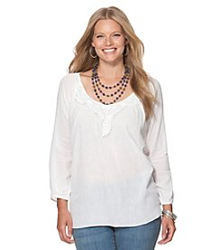 Chaps® Plus Size Lace Boho Top