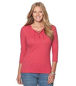 Chaps® Plus Size Lace-Up Cotton Shirt