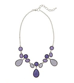 Studio Works® Tonal Purple and Silvertone Cabochon Necklace