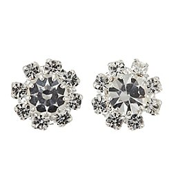 BT-Jeweled Crystal And Silvertone Flower Stud Earrings