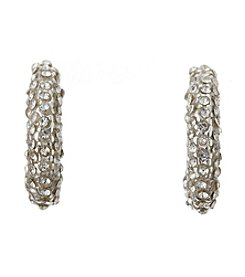 BT-Jeweled Crystal And Silvertone Pave Half Hoop Earrings