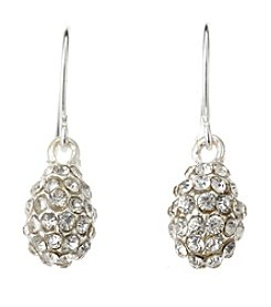 BT-Jeweled Crystal And Silvertone Pave Pear Drop Earrings