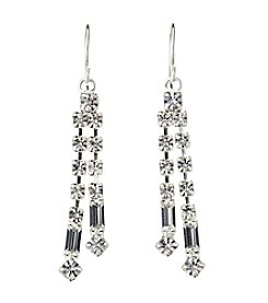 BT-Jeweled Crystal And Silvertone Two Row Linear Earrings