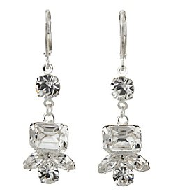 BT-Jeweled Crystal And Silvertone Eurowire Stone Earrings