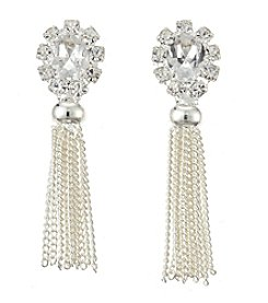 BT-Jeweled Crystal And Silvertone Post Top With Fringe Earrings