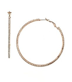 BT-Jeweled Large Rose goldtone Pave Hoop Earrings