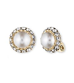 Anne Klein® Goldtone Simulated Pearl Clip Earrings