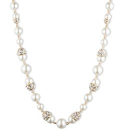 Anne Klein® Goldtone Simulated Pearl Frontal Necklace
