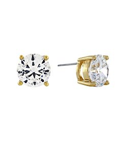 Jessica Simpson Goldtone Round Crystal Cubic Zirconia Stud Earrings