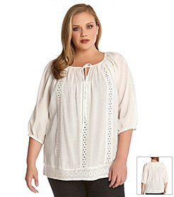 Karen Kane® Plus Size Embroidered Peasant Top