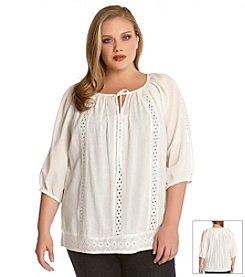 Karen Kane® Plus Size Embroidered Peasant Top