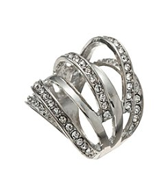 GUESS Silvertone Multi Row Simulated Crystal Ring