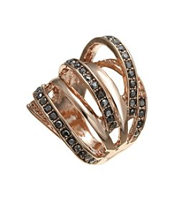 GUESS Rose Goldtone Multi Row Crystal Ring