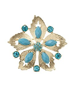 Napier® Goldtone And Turquoise Stone Sandollar Pin In Gift Box