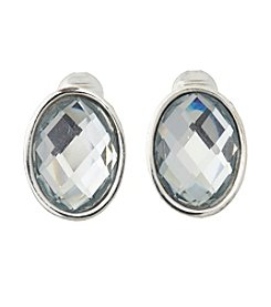 Napier® Silvertone And Blue Bead Clip Earrings