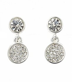 Napier® Silvertone And Crystal Double Drop Clip Earrings