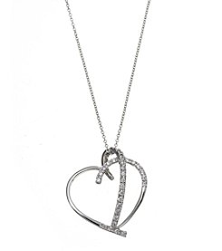 Athra Cubic Zirconia Open Heart Pendant Necklace In Fine Silver Plate