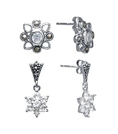 Athra Flower Cubic Zirconia And Marcasite Earrings Set In Fine Silver Plate