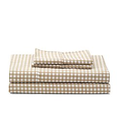 LivingQuarters Khaki Gingham Perfect Performance 400-Thread Count Sheet Set