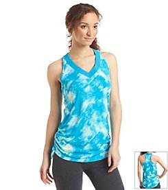 Exertek® Petites' V-Neck Shirred Galaxy Print Tank Top