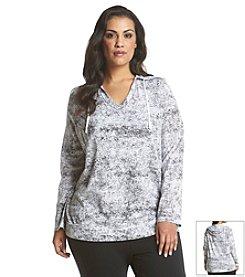Exertek® Plus Size Fracture Print Hoodie Tunic