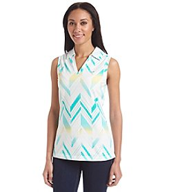 Le Tigre Sleeveless Splitneck Printed Polo