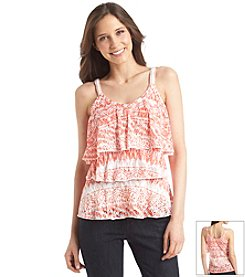 Relativity® Tiered Burnout Embellished Strap Tank