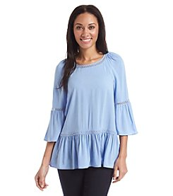Spense® Ruffled Open Stitch Trim Tunic