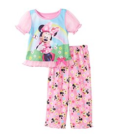 Disney® Girls' 2T-4T 2-Piece Minnie Rainbow Pajama Set