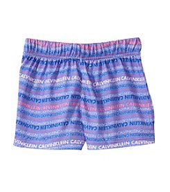 Calvin Klein Girls' 5-16 Wavy Logo Shorts